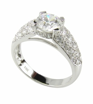 Pave Panther 1 Carat Round Cubic Zirconia Cathedral Style Solitaire Engagement Ring