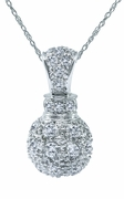 Pave Perfume Bottle Shaped Cubic Zirconia Pendant 14K White Gold