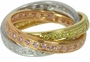 Pave Set Cubic Zirconia Rolling Ring Trinity Ring Russian Wedding Ring Eternity Band