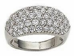 Pave Set Round Cubic Zirconia Five Row Band