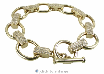Pave Set Round Cubic Zirconia Rectangular Link Toggle Bracelet