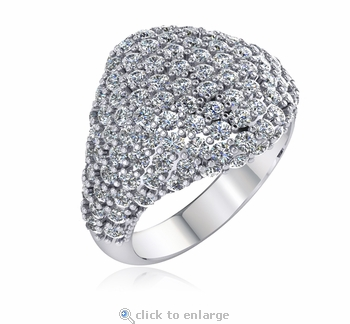 Pave Signet Pinky Cubic Zirconia Ring - Large