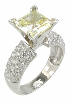 Pave Splendor Princess Cut Cubic Zirconia Pave Encrusted Solitaire Engagement Rings