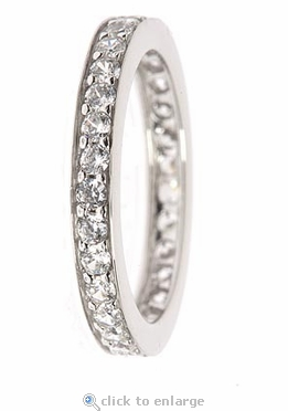 Pavette Shared Prong Pave Set Round Cubic Zirconia Eternity Band