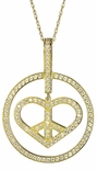Peace and Love Pave Set Round Cubic Zirconia Circle Pendant
