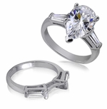 Pear Cubic Zirconia Baguette Solitaire with Matching Band Wedding Sets