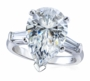 Pear Shape Cubic Zirconia Baguette Solitaire Engagement Rings