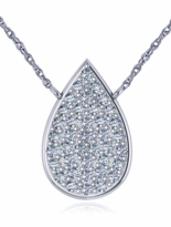 Pear Tear Drop Shape Pave Cubic Zirconia Disc Necklace