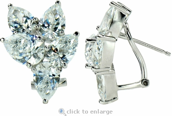 Pearis Cubic Zirconia Pear Cluster Earrings