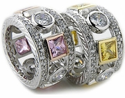 Pelligrosso Bezel Set Round and Princess Cut Cubic Zirconia Eternity Band