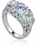Pemberly 2 Carat Three Stone Round Cubic Zirconia Antique Estate Style Ring