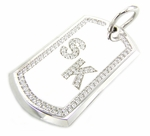 Personalized Initial Dog Tag Pave Set Cubic Zirconia Pendant