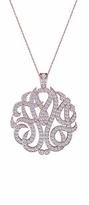 Personalized Three Letter Script Monogram Cubic Zirconia Pendant Pave Diamond Look Necklace - Small 1 Inch