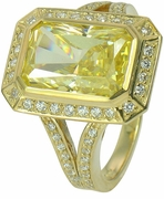 Perusia Radiant Emerald Cut Cubic Zirconia Pave Halo Split Shank Ring