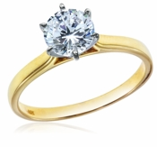 Petite 1 Carat Round Cubic Zirconia Cathedral Solitaire Engagement Ring 14K Yellow Gold