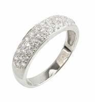 Petite Pave Cubic Zirconia Three Row Anniversary Band