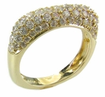 Petite Square Pave Encrusted Domed Cubic Zirconia Band