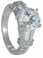 Petra 3 Carat Round Cubic Zirconia Tapered Baguette Antique Estate Style Solitaire
