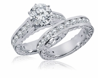 Phaidra 1.5 Carat Round Cathedral Prong Set Cubic Zirconia Channel Set Engraved Wedding Set