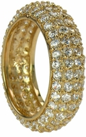 Phoenix Domed Four Row Pave Set Round Cubic Zirconia Eternity Band