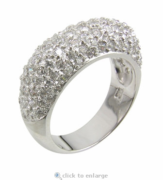 Picatta Pave Set Round Cubic Zirconia Domed Band