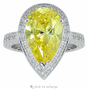 Pierre 7 Carat Pear Cubic Zirconia Pave Halo Solitaire Engagement Ring