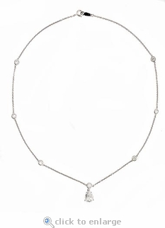 Pillar 2 Carat Basket Set Pear Cubic Zirconia Station Necklace