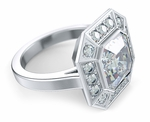 Pippa Middleton 2.5 Carat Asscher Cut Cubic Zirconia Pave Halo Engagement Ring Inspiration