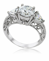 Pomeroy 1.5 Carat Round Cubic Zirconia Trillion Engraved Antique Estate Solitaire Engagement Ring
