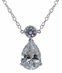 Pontiac 3 Carat Pear Cubic Zirconia Drop Station Necklace
