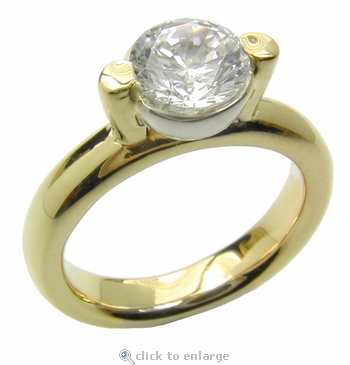 Post Floating Solitaire 1.5 Carat Round Cubic Zirconia Bezel Set Two Tone Engagement Ring
