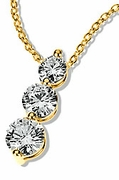 Post Set Cubic Zirconia Round Three Stone Graduated Anniversary Pendant Clearance