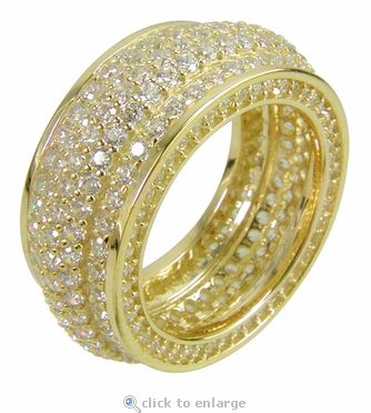 Potenza Domed Pave Set Round Cubic Zirconia Eternity Band
