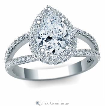 Pradera 2 Carat Pear Shape Cubic Zirconia Pave Halo Split Shank Engagement Ring