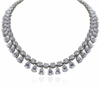 Presley Cubic Zirconia Round Pear Drop Statement Tennis Necklace