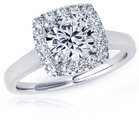 Preston 1.5 Carat Round Cubic Zirconia Halo Cathedral Solitaire Engagement Ring