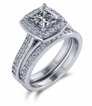 Prima 1 Carat Princess Cut Cubic Zirconia Pave Halo Cathedral Bridal Set
