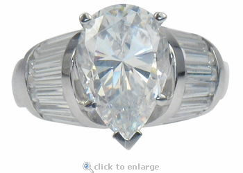 Primalia 3 Carat Pear Cubic Zirconia Channel Set Baguette Solitaire Engagement Ring