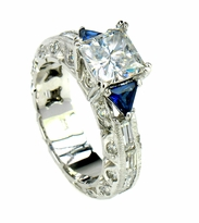 Princella 1.5 Carat Princess Cut Cubic Zirconia Trillion Lab Created Sapphire Eternity Engagement Ring
