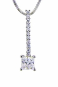 Princess Cut .75 Carat Cubic Zirconia Drop Pendant