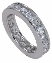 Princess Cut And Round Cubic Zirconia Channel Set Eternity Band