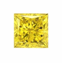 Princess Cut Canary Yellow Diamond Look Cubic Zirconia Loose Stones