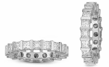 Princess Cut Channel Set Bar Set Cubic Zirconia Eternity Bands