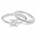 Princess Cut Classic Cubic Zirconia Solitaire Engagement Rings with Matching Wedding Bands