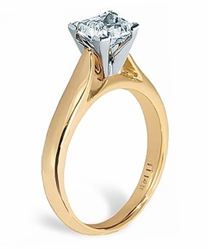Princess Cut Cubic Zirconia Cathedral Solitaire Engagement Rings