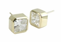 Princess Cut Cubic Zirconia Square Bezel Set Stud Earrings