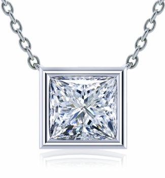 Princess Cut Square Bezel Set Cubic Zirconia Solitaire Pendants