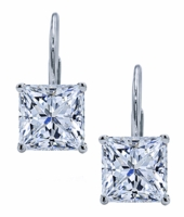 Princess Cut Square Cubic Zirconia Leverback Earrings