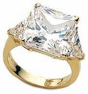 Princess Cut with Trillions Three Stone Cubic Zirconia Engagement Rings
