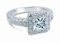 Princess De Suisse 1 Carat Princess Cut Square Cubic Zirconia Halo Style Antique Estate Style Ring